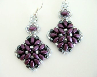 Superduo Earrings / Beaded Super Duo Earrings / Seed Bead Earrings in Bordeaux and Gray / Sterling Silver Earrings / Beadwoven Earrings
