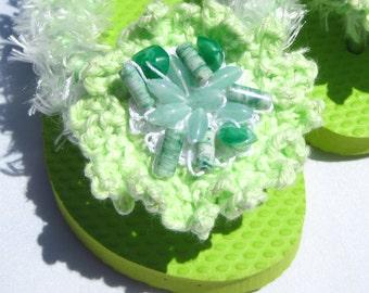 Girl's Flip Flops Key Lime Girl's Sandals or Flip Flops in Size 9/10 Wedding Shoes Flower Girl Sandals