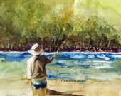 FLY FISHING ORIGINAL / Fly Fishing art original / Fly Fishing Painting (11.5 x 10 Fly Fisherman watercolor) Father's Day Gift