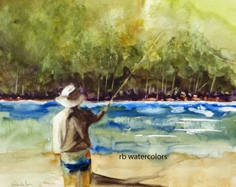 FLY FISHING PRINT / Fly Fishing art  / Fly Fishing Painting (8 x 10) Fly Fisherman watercolor) Father's Day Gift