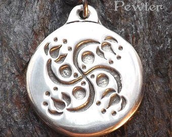 Lotus Swastika - Pewter Pendant - of Hindu and many other traditions - Ganesha, Eastern, Jewelry