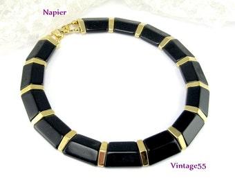 Napier Collar Necklace Black Gold tone