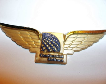 Vintage Continental Airlines Wings Lot of 11 Airplane Wings Gold Plastic Finding