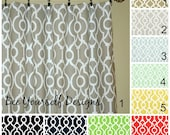 "Pair of Curtain Panels - Backdrop Lyon, Premier Prints, Trellis Irongate Ogee - 25"" or 50"" wide - You choose color and length"