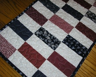 Quilted Runner in Navy and Burgundy 14 x 37 inches