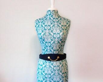 vintage navy blue belt // wide cinch belt // 1980s 80s nautical gold coin chain belt