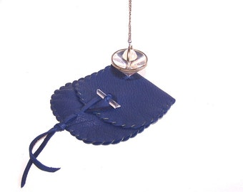 Leather Pendulum Pouch..BLUE... Smooth