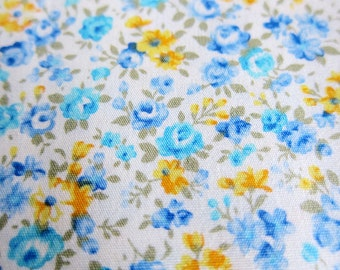 Floral Cotton Fabric - Classic Blue Roses - Half Yard