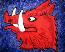 The Black Knight's Boar Head Iron on Patch 100% embroidery