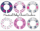 Nautical Nursery Closet Dividers, Hot Pink and Navy Nursery, Closet Divider for Nursery, Plastic Clothes Divider