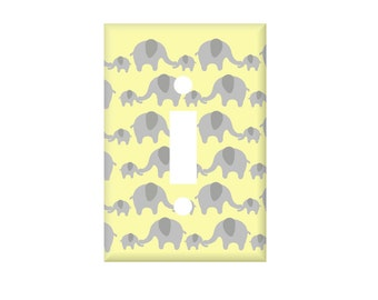 Elephant rows Switch Cover, Custom Switchplate, Electrical Outlet Covers, Yellow gray nurseries