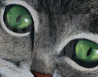 """Panting,Acrylic painting on canvas 16""""x12"""",Cat this listing is for print of painting ."""