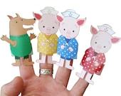 Three Little Pigs - Finger Puppet Set - digital download - Puppet play set