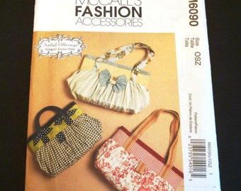McCall's Pattern 6090 - Handbag Pattern - Gathered Handbag Pattern - Fashion Accessories Pattern - Sewing Pattern