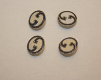 Authentic Vintage Gucci Buttons Silver and Enamel Double G Logo