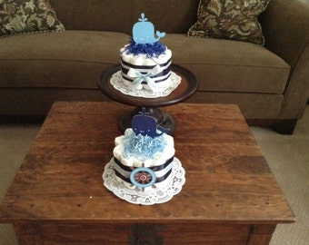 Whale Baby Shower nautical Centerpiece Diaper Cakes other colors and sizes too