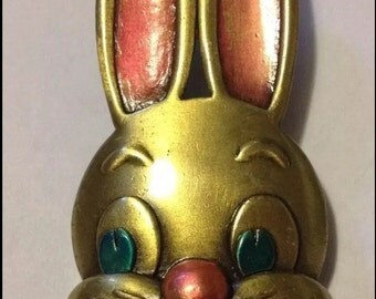 JJ Vintage Easter bunny rabbit with big pink ears & pink bunny nose brooch
