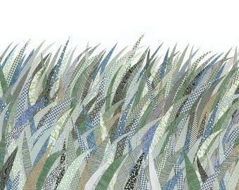 Security Green Grass, print reproduction from a collage made with envelopes