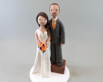 Bride & Short Groom Personalized Wedding Cake Topper
