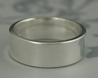 Wide Men's Silver Flat Band--Cigar Band--Flat Edge Band--8mm Straight and Narrow Band--Men's Plain Silver Band--Men's Wedding Ring