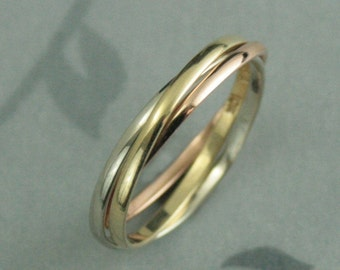 Tricolor Rolling Ring--10K Gold Interlocking Rings--Russian Wedding Band--Skinny Minnie Roller--Unique Wedding Band--Love, Hope, Faith Ring
