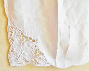 Vintage Linen White Embroidered Tablecloth with Cutwork Square Table Cloth