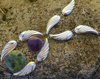 Statement Necklace in Sterling Silver, Sugilite and Chrome Diopside Scarabadae