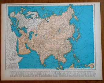 Asia Map, vintage atlas map, 1930s original China, India, Russia, old wall art map