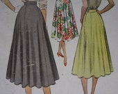 Vintage 1950s Skirt Sewing Pattern, McCall 8303, Waist 32