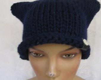 SALE Hand knit hat, winter accessory beret,cat beret