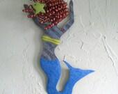 Art sculpture ocean decor - Mermaid Dancer upcycled metal wall hanging -nautical bathroom beach periwinkle red head