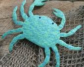 Marine Decor Sealife Wall Art Crab - Oscar - Handmade Reclaimed Metal Wall Sculpture Ocean Beach House Coastal Blue