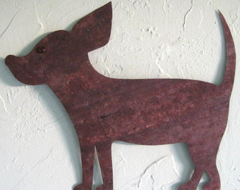Art Sculpture Metal Chihuahua Dog Decor Recycled Metal Animal Wall Art Indoor Outdoor Pets Puppies 11 x 14