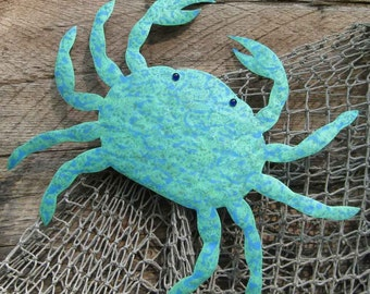 Marine Metal Wall Decor Sealife Wall Art Crab - Oscar - Handmade Reclaimed Metal Wall Sculpture Ocean Beach House Coastal Blue