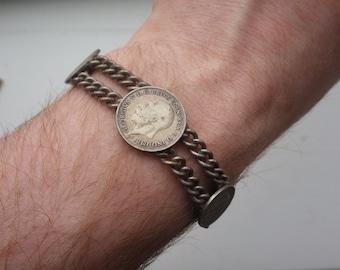 Unusal British Coin Fob/Bracelet - 1930s Genuine Coins.
