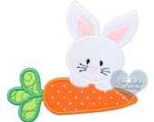 Easter Bunny and Carrot Applique Embroidered Patch , Sew or Iron on