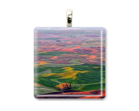 "Photo Pendant ""Steptoe Spectrum"" Photo Necklace, Photo Jewelry, Nature Pendant, Nature Necklace, Nature Jewelry, Rainbow Color, Glass Tile"