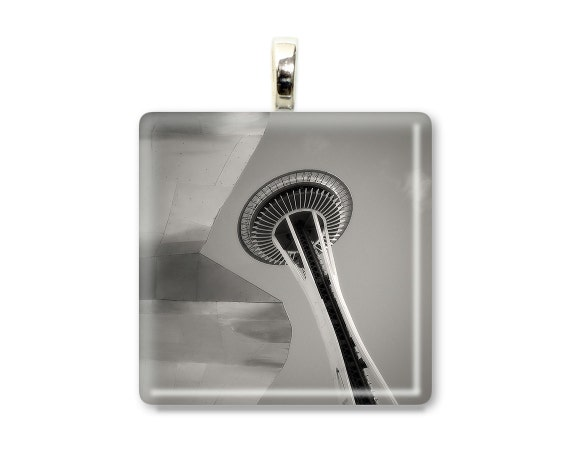 The Needle and The Project - Glass Tile Photo Pendant - Original Photography
