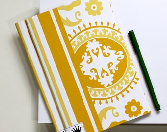 6 x 9 Paper Filled Journals, Two, Suzani, Yellow