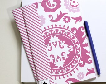 6 x 9 Paper Filled Journals, Two, Suzani, Pink