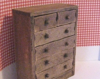Dollhouse, chest, drawers, country look, dark oak, twelfth scale