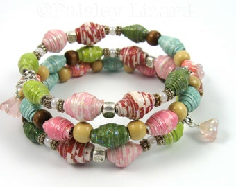 Cherry Blossoms Bracelet,paper beads on memory wire, floral jewelry