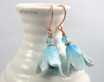Blue Bonnet Flower earrings, rustic whimsy polymer clay blossom and glass beaded dangles on copper wire