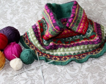 Colorful Fair Isle style cowl, knitting pattern. Instant download PDF.
