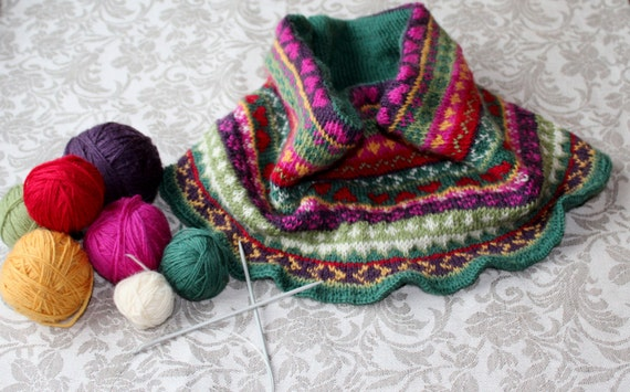 Colorful Fair Isle style cowl knitting pattern. Instant