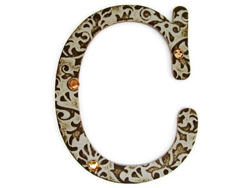 Chipboard letter C, 4 inch embossed letter, initials, paper accents, wall decor, table decor, wedding decoration, custom sayings, names