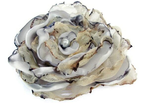 Grey Flower Accessory, Wedding Hair Flower