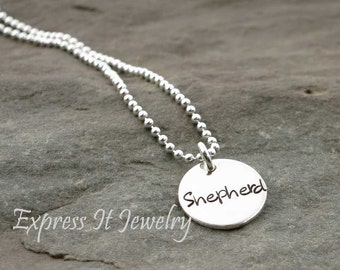 Single Small Disc Necklace Personalized Hand Stamped Sterling Silver