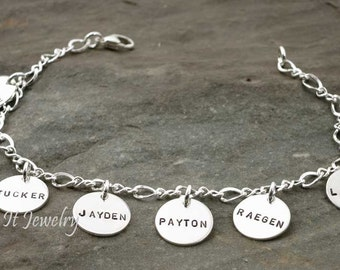 Grandmothers Bracelet 8 Sterling Silver and Personalized Discs