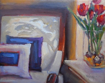 Impressionist Small Oil Painting, Daily Painting, Interior Painting, White Chair with Shadows, 8x10 still life